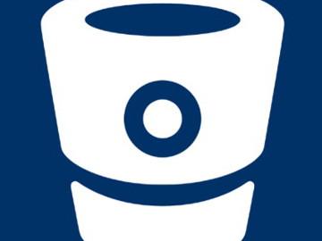 logo de bitbucket, cubo blanco recortado sobre fondo azul