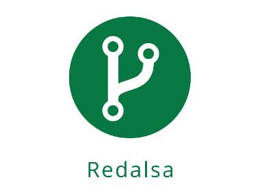 icono de unión de vías dentro de círulo verde y el nombre de redalsa